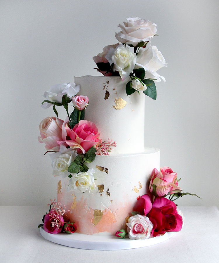 Watercolour Peach Wedding Cake with Ombre Flowers