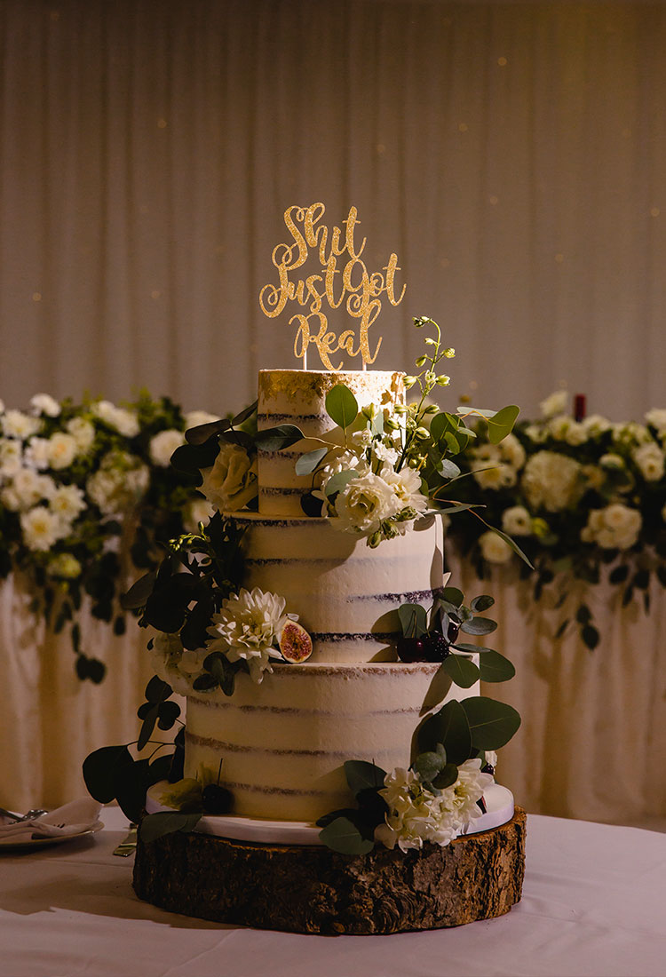 Semi Naked Wedding Cake with Wild Foliage & Flowers