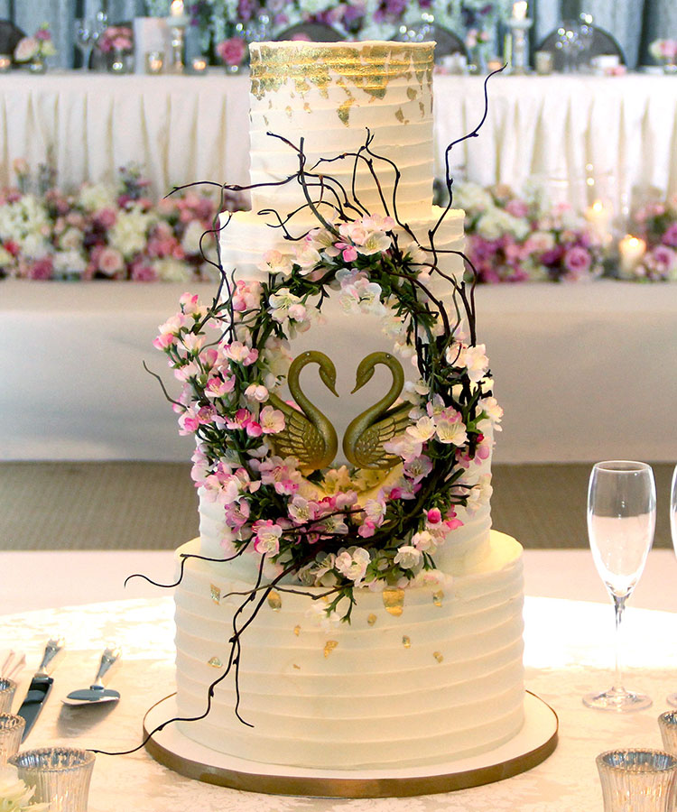 Cherry Blossom Wedding Cake with Hole & Golden Swans