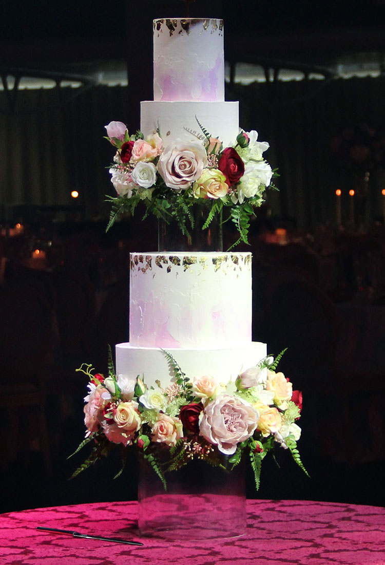 Glass Floating Wedding Cake with Watercolour Tiers & Floral Rims
