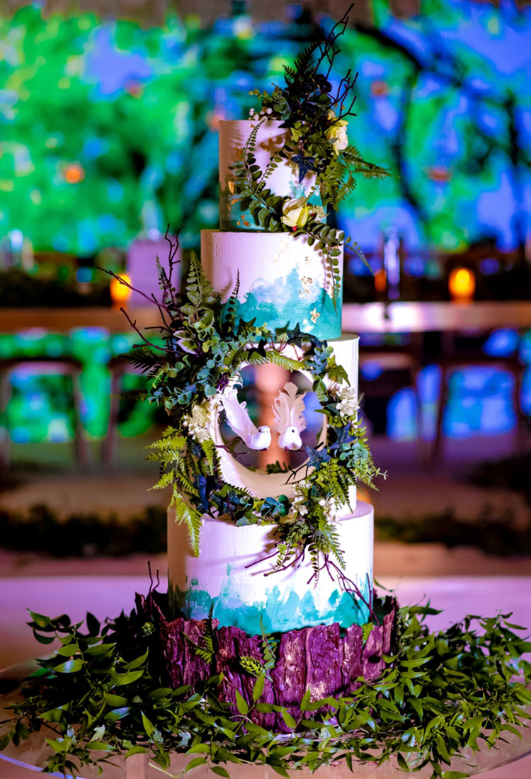 Woodland Wedding Cake Heavy Foliage & White Birds