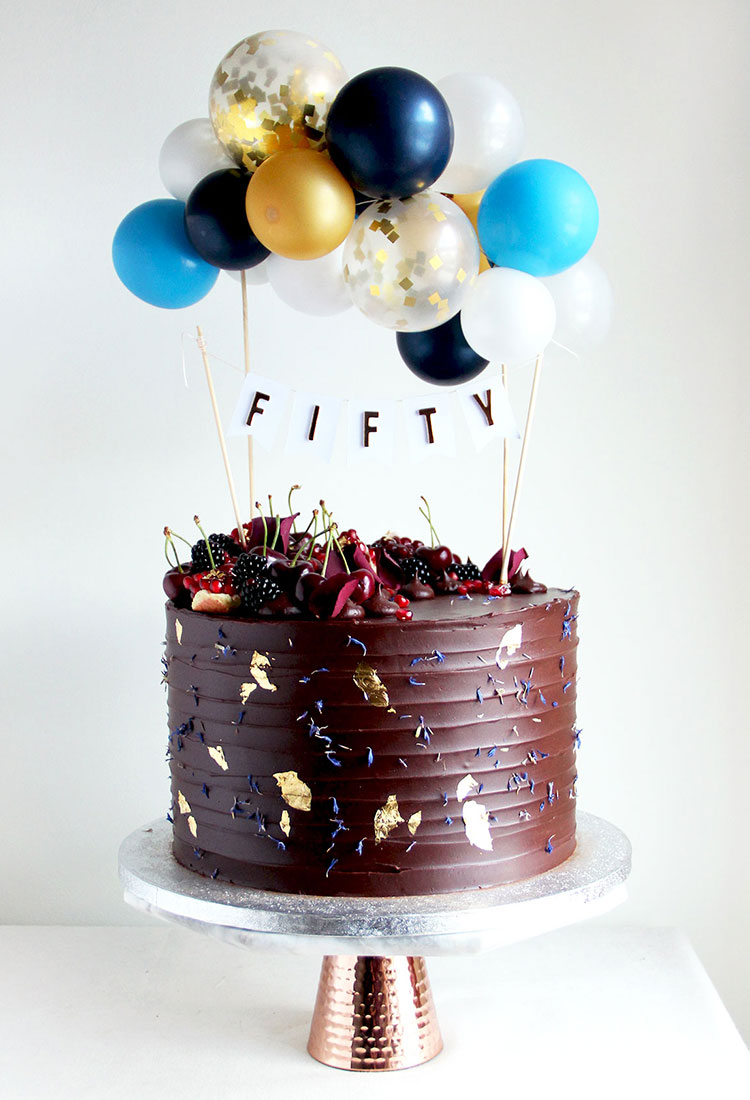 Chocolate Celebration Cake with Blue Balloon Bunting