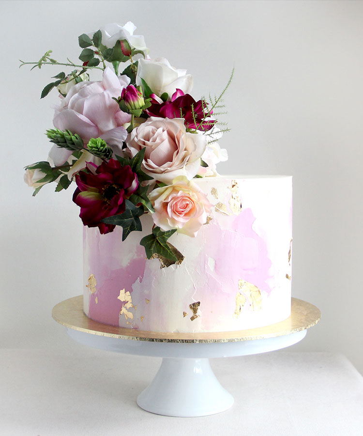 Dusty Pink Watercolour Engagement Cake with Pale & Deep Flowers