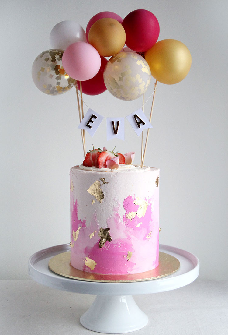 First Birthday Cake Watercolour Pink & Balloon Bunting