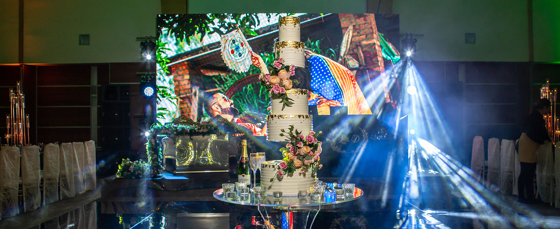 7 Tier Side Floating Wedding Cake with Florals Full