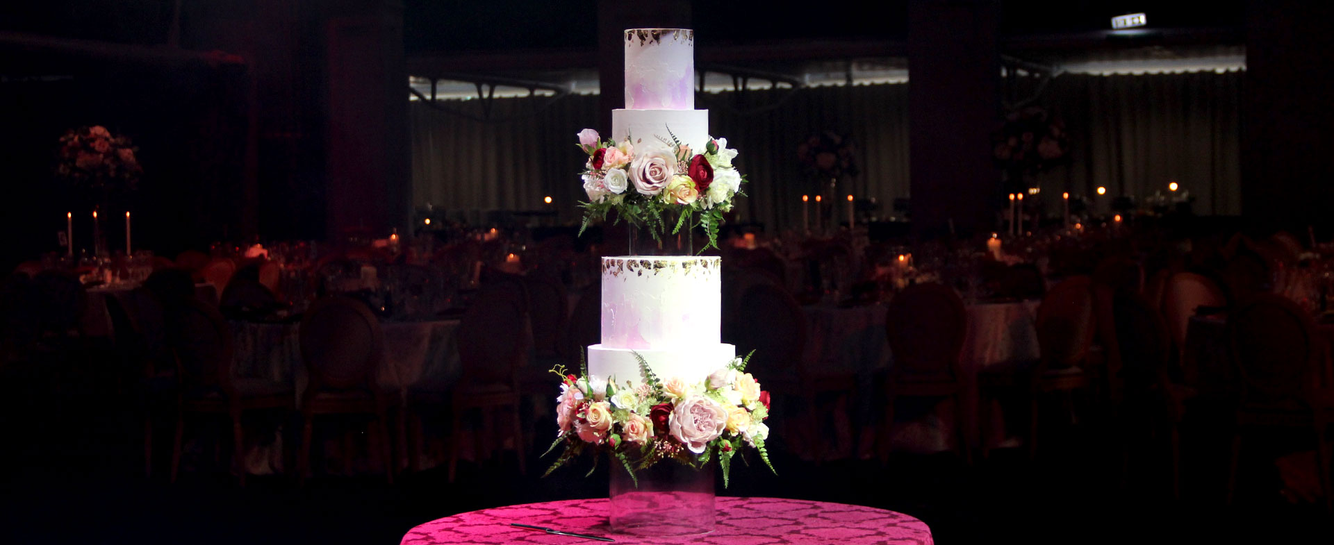Glass Floating Wedding Cake with Watercolour Tiers & Floral Rims Full