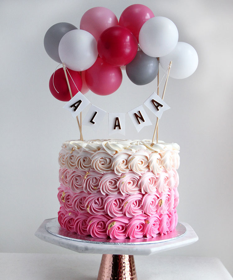 Ombre Pink Rose Swirl Celebration Cake with Buntings