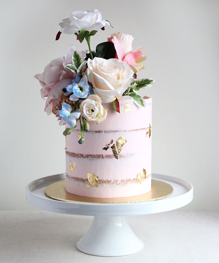 Pale Pink Semi Naked Celebration cake with Pastel Flowers
