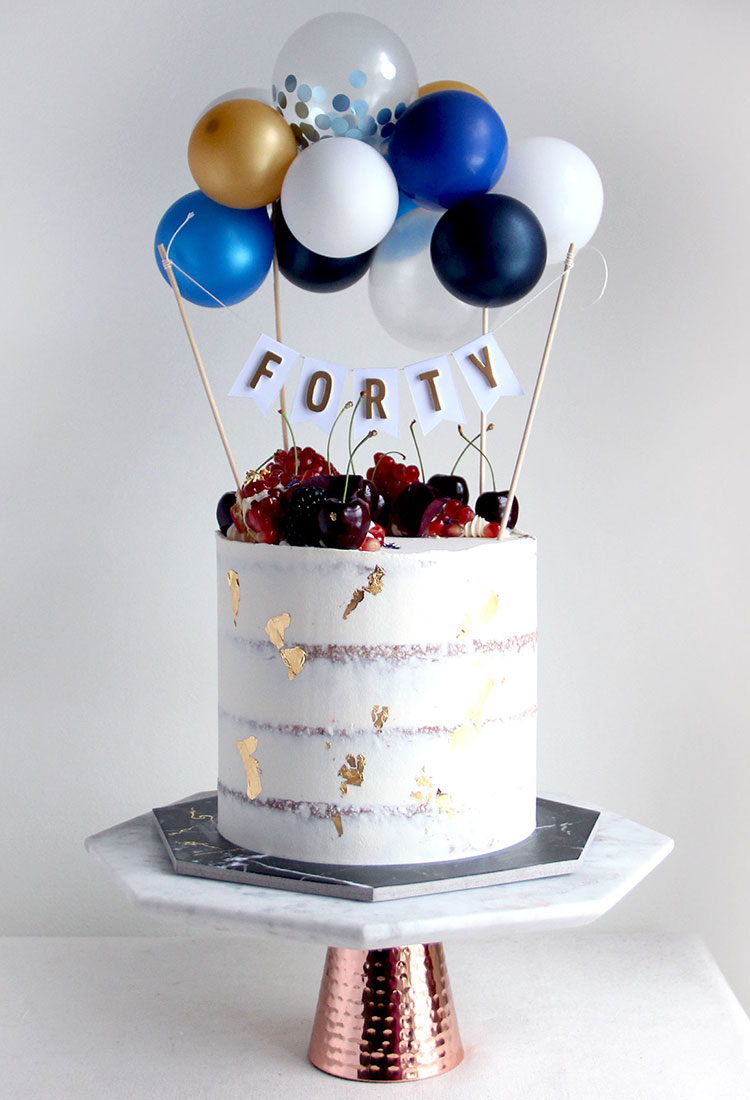 Forty Semi Naked Celebration Cake with Buntings