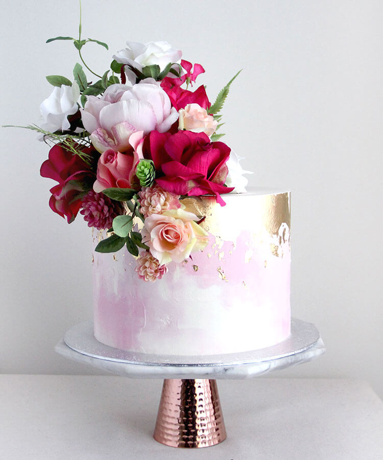 Watercolour Celebration Cake with Heavy Gold & Pink Flowers