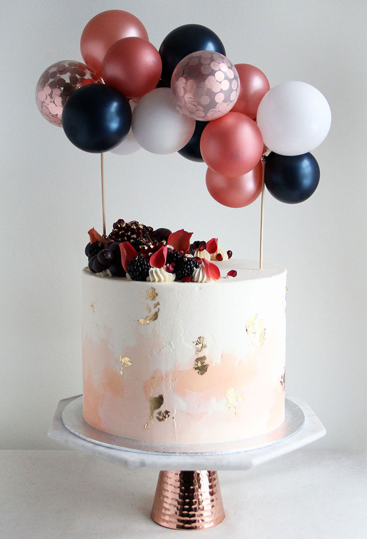 Watercolour Peach Engagement Cake with Balloon Bunting