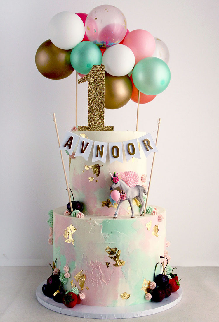 Watercolour Unicorn Theme Celebration Cake with Buntings & Toppers