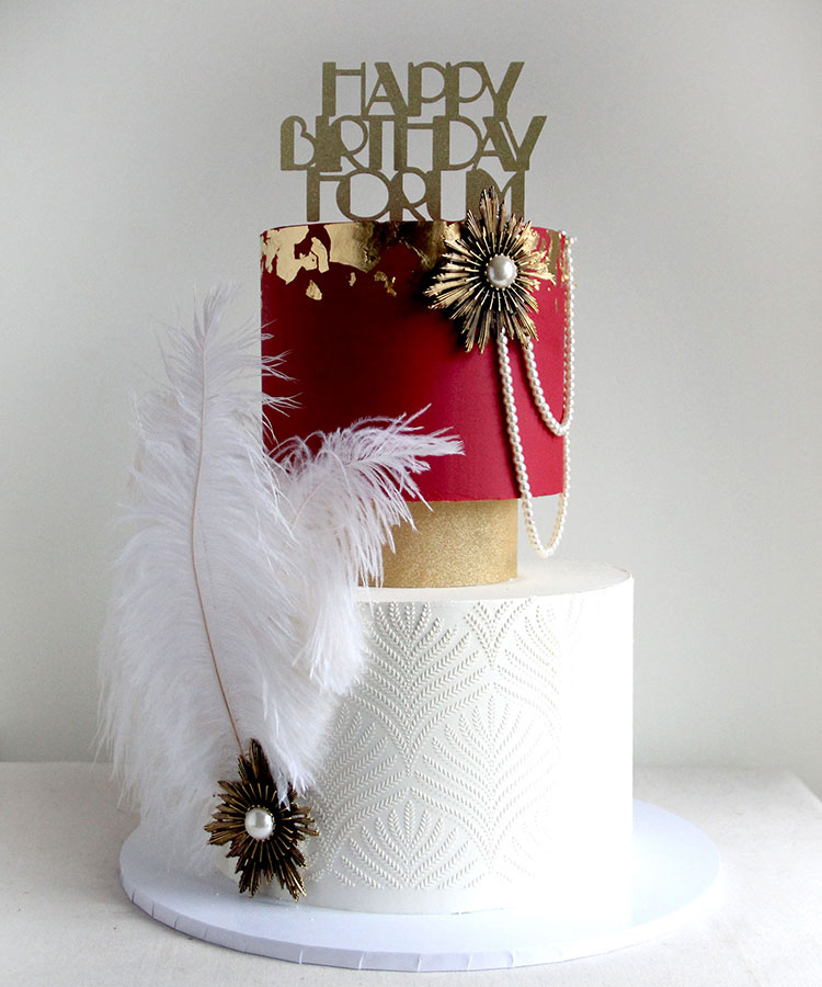 1920s Art Deco 2 Tier Celebration Cake