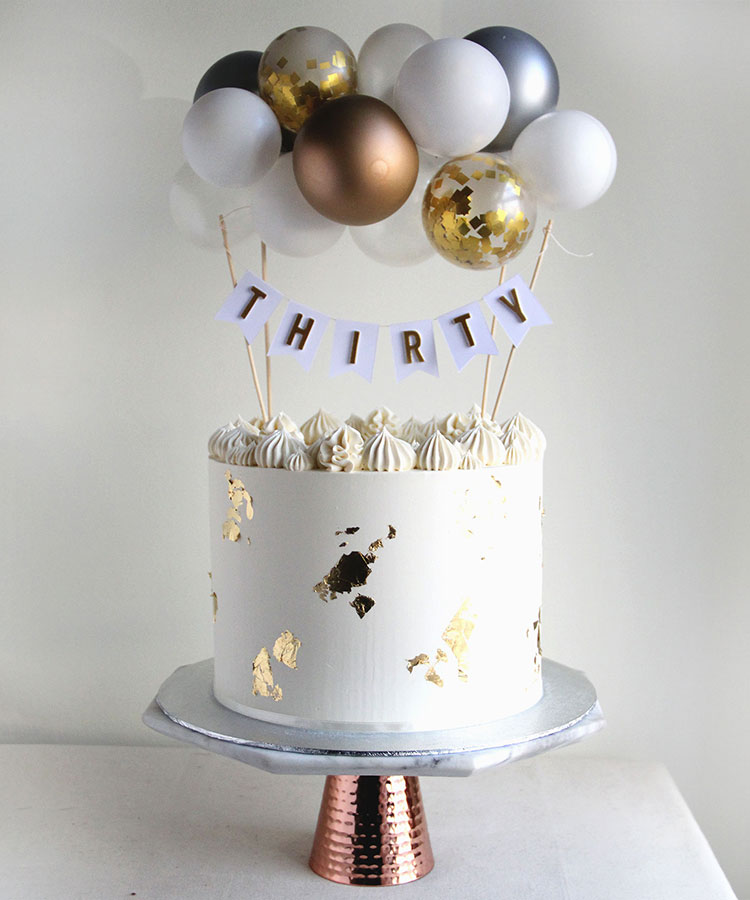 White Gold & Silver Birthday Cake