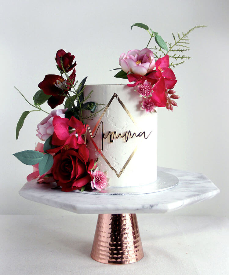 Bright Flowers Celebration Cake with Gold Diamond & Cake Charm