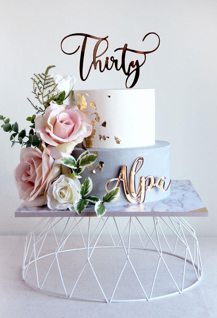 Mini 2 Tier Grey & Pink Celebration Cake with Cake Charm