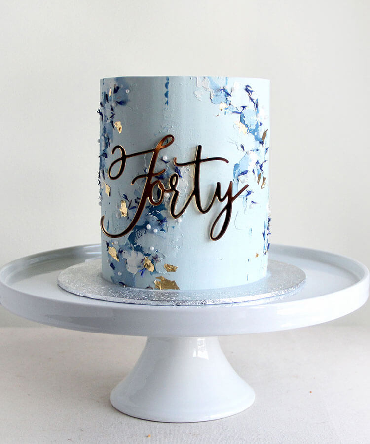 Painted Blue Forty Birthday Cake