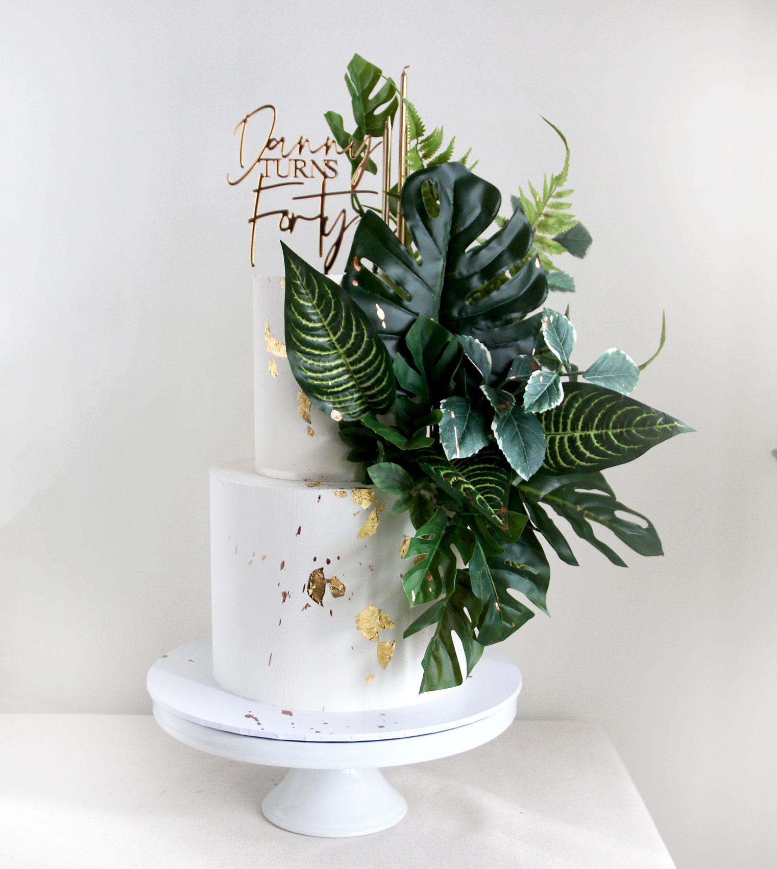2 Tier Oversized Foliage Celebration Cake