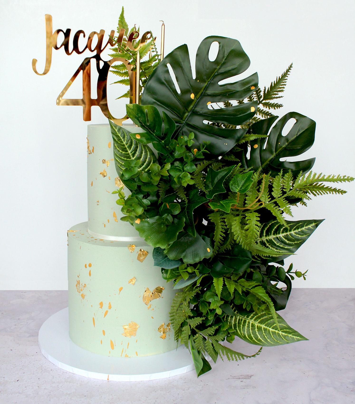 2 Tier Pale Green Oversized Foliage Celebration Cake