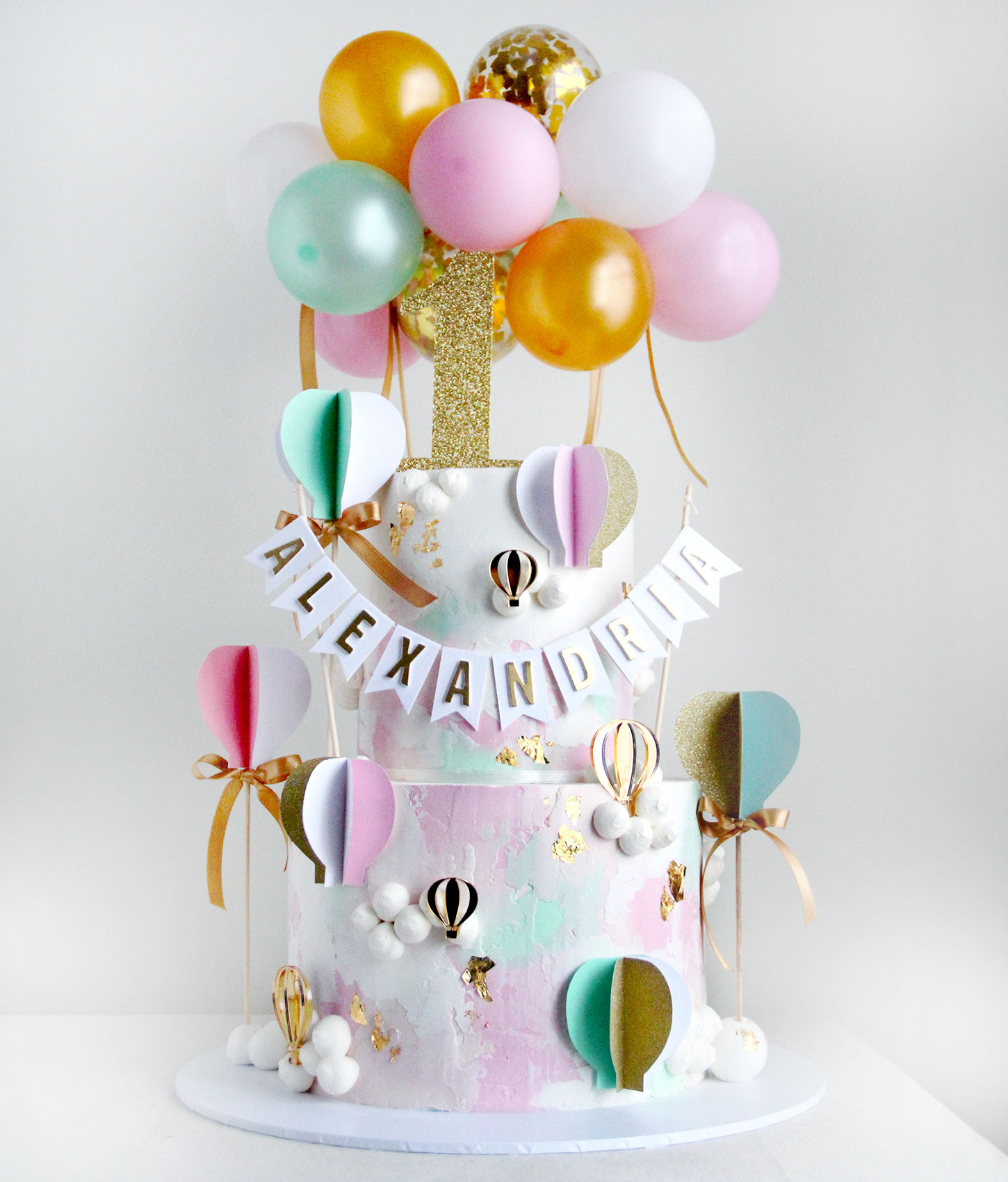2 Tier Pink & Green Hot air Balloon First Birthday Cake