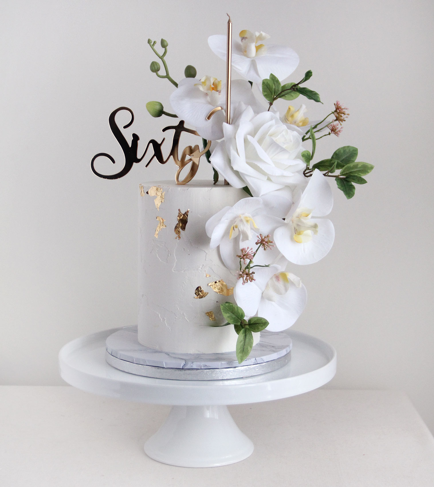 All White & Gold Sixty Cake