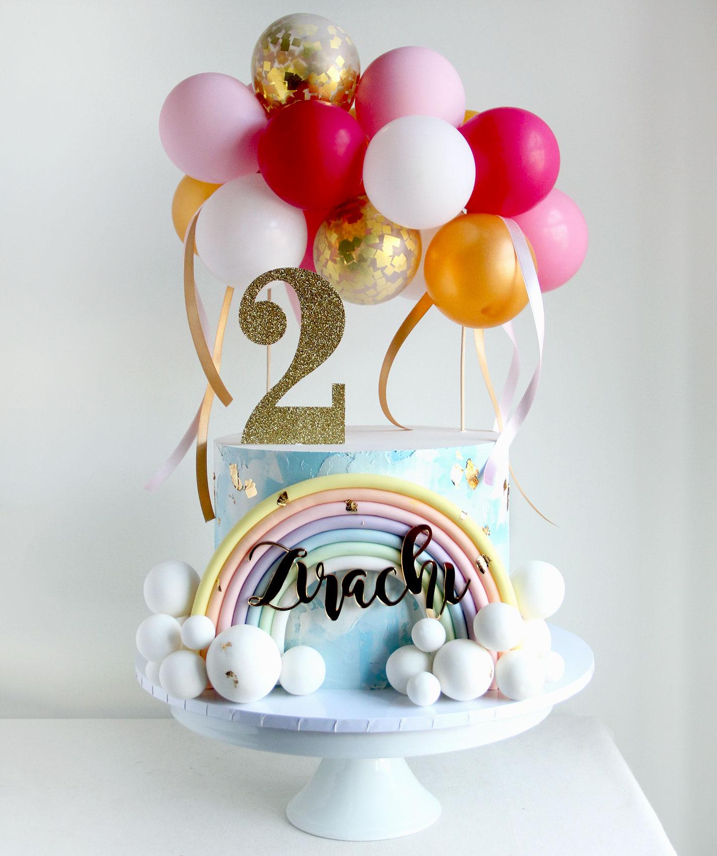 Oversize Rainbow & Balloon Cake