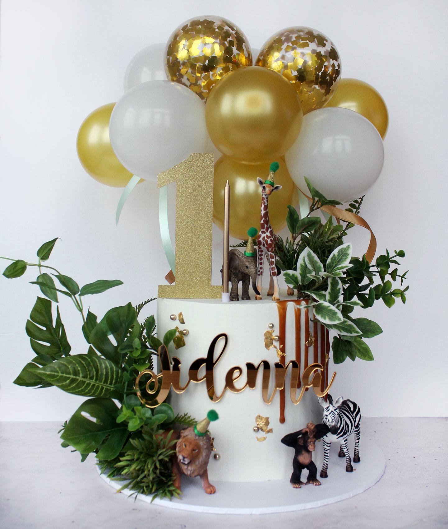 Safari Cake with Drip and Balloons