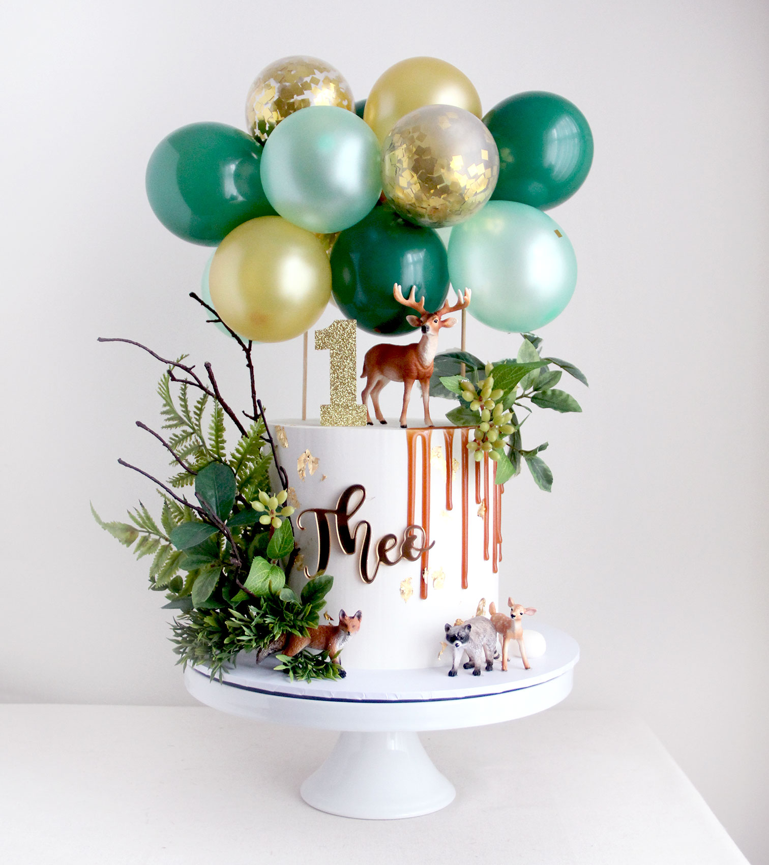Woodland Theme Cake with Balloons
