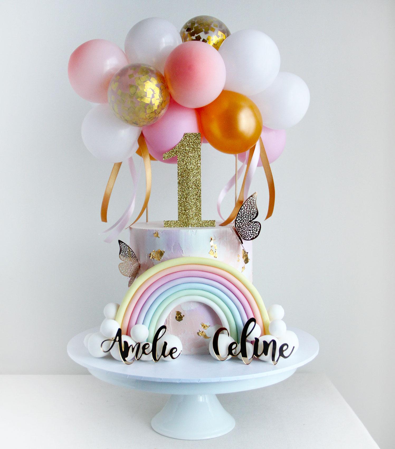 Twins Oversized Rainbow & Balloons Celebration Cake