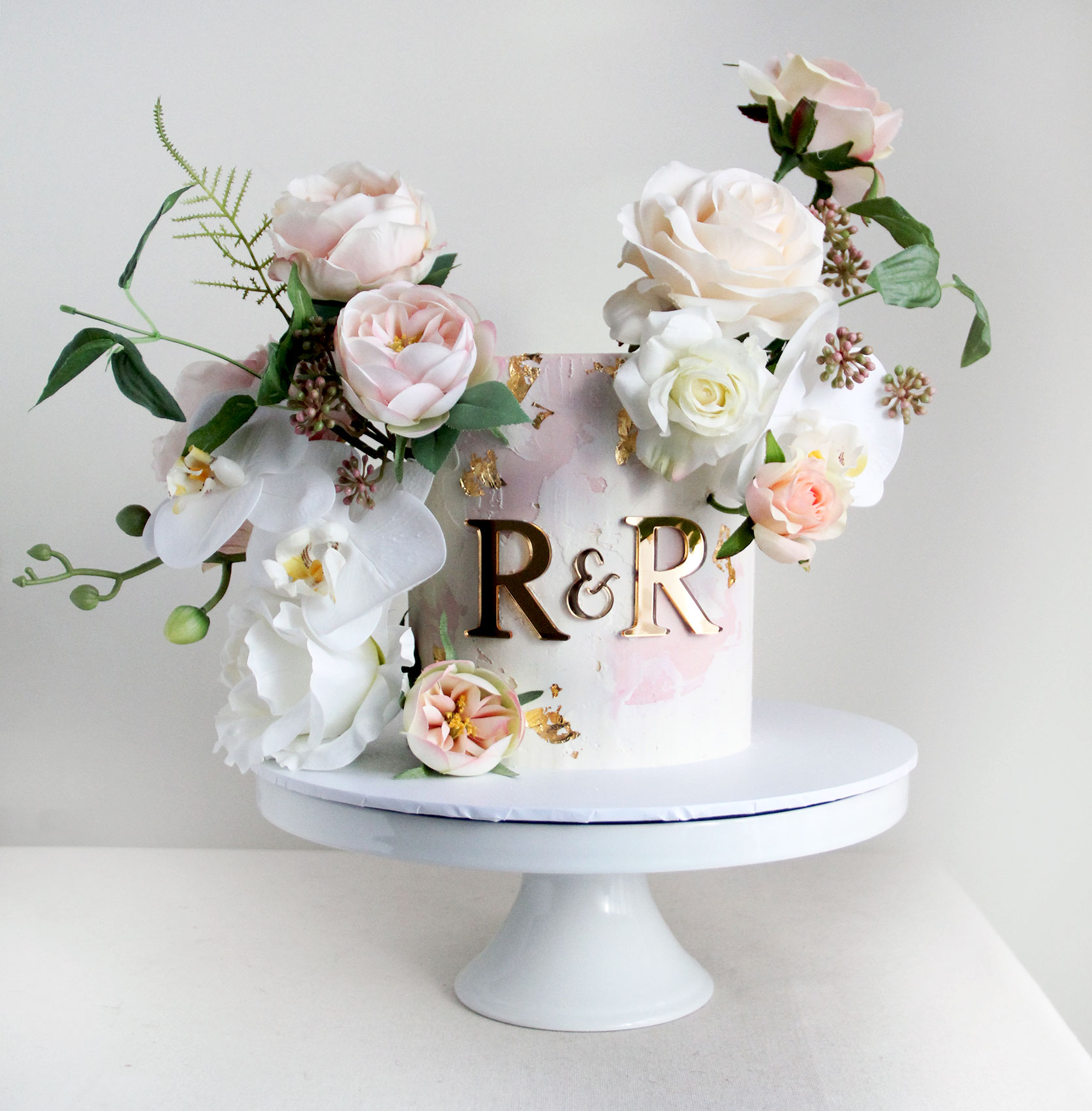 Watercolour Pale Pink with Romantic Flowers & Initials