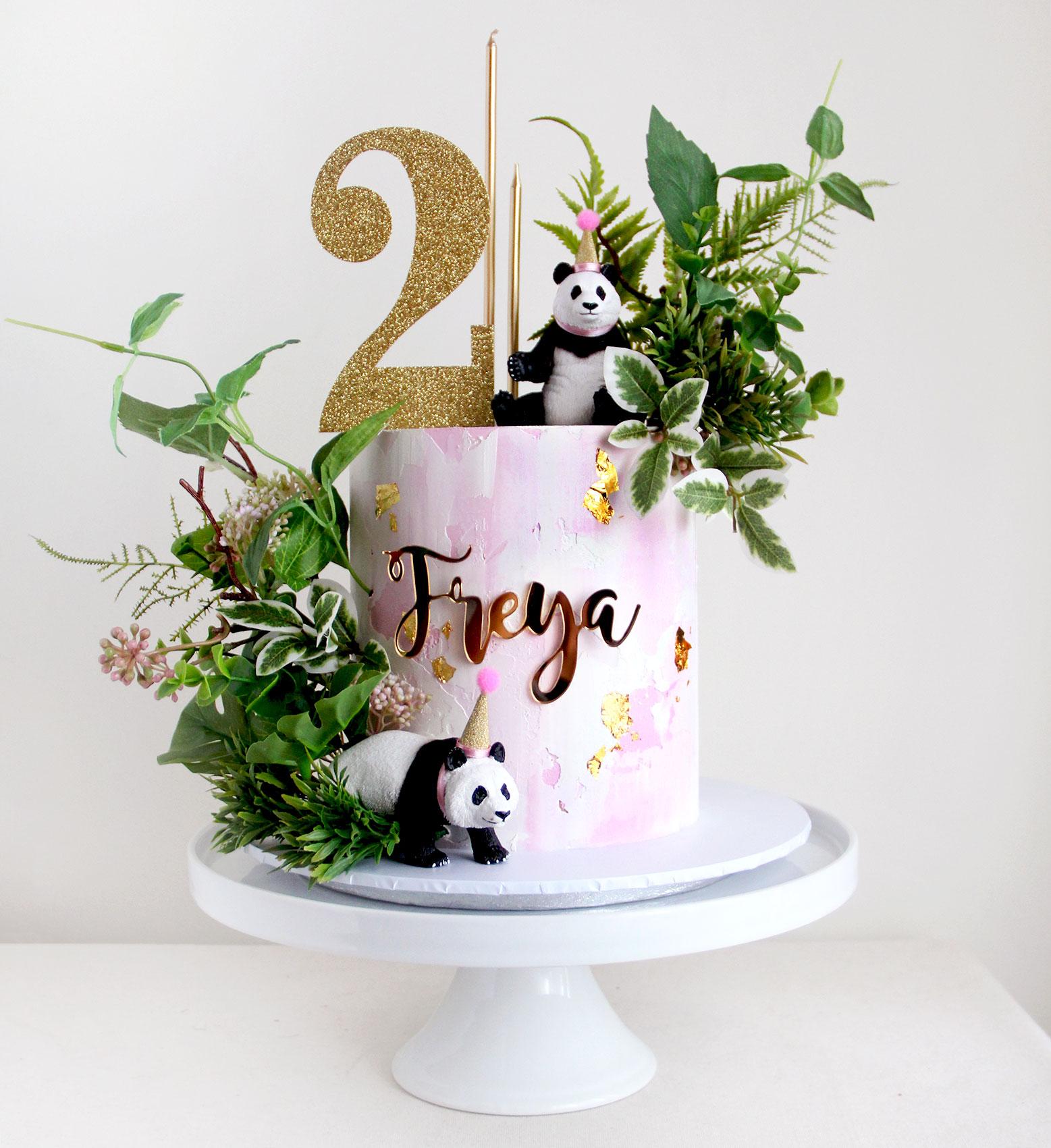 Panda Cake with Watercolour Pink & Foliage