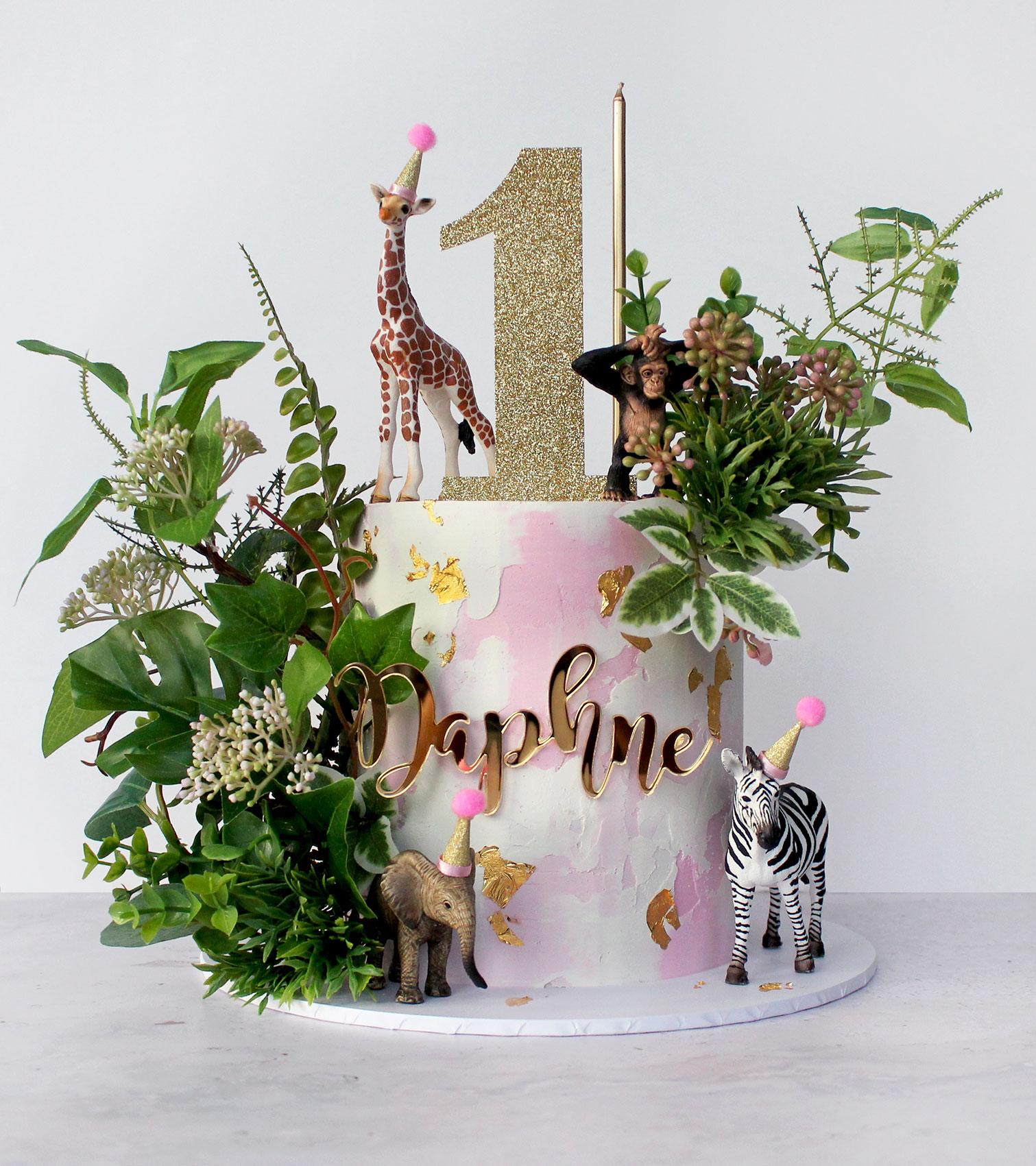 Watercolour Pink Safari Cake